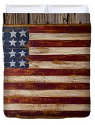 Wooden American Flag On Wood Wall Duvet Cover