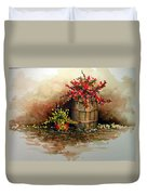 Wooden Barrel With Flowers Duvet Cover