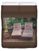 Wooden Beach Chairs Duvet Cover