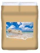 Wooden Beach Sign Algarve Portugal Duvet Cover by Amanda Elwell