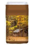 Wooden Cabin In Autumn Duvet Cover