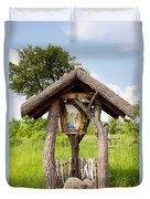 wooden shrine of holy Mother in Poland  Duvet Cover