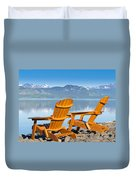Wooden Deckchairs Overlooking Scenic Lake Laberge Duvet Cover