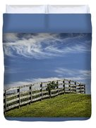 Wooden Farm Fence On Crest Of A Hill Duvet Cover