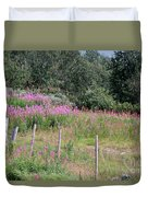 Wooden Fence And Pink Fireweed In Norway Duvet Cover