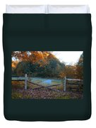 Wooden Fence In Autumn Duvet Cover