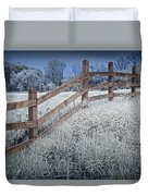 Wooden Fence Of A Friesian Horse Pasture On Windmill Island Duvet Cover