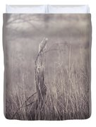 Wooden Fence Post On A Foggy Winter Day Duvet Cover