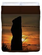 Wooden Fence Post Sunset Duvet Cover