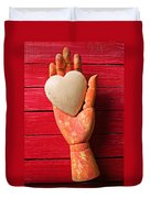 Wooden Hand With White Heart Duvet Cover
