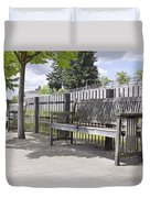 Wooden Park Benches Duvet Cover