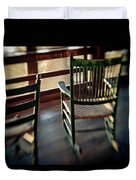 Wooden Rocking Chairs On A Deck Duvet Cover