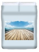 Wooden Surface Sky Background Duvet Cover