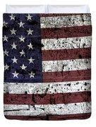 Wooden Textured U. S. A. Flag Duvet Cover