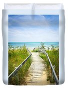 Wooden Walkway Over Dunes At Beach Duvet Cover