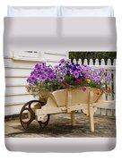 Wooden Wheelbarrow Full Of Flowers Duvet Cover