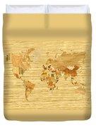 Wooden World Map 2 Duvet Cover