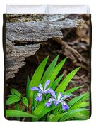Woodland Dwarf Iris Wildflowers Duvet Cover