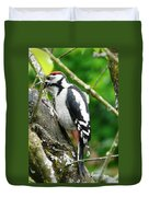 Woodpecker Swallowing A Cherry  Duvet Cover