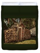Woodpile And Shed Duvet Cover