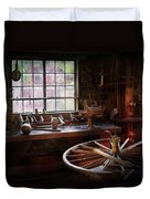 Woodworker - The Wheelwright Shop  Duvet Cover