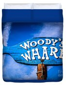 Woody's Wharf Sign Newport Beach Picture Duvet Cover
