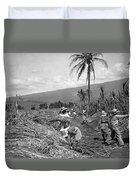 Workers Harvesting Sugar Cane Duvet Cover