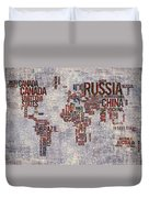 World Map Typography Artwork Duvet Cover