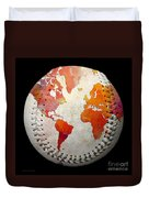 World Map - Rainbow Passion Baseball Square Duvet Cover by Andee Design