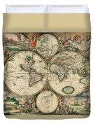 World Map 1689 Duvet Cover
