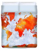 World Map - Citrus Passion - Abstract - Digital Painting 2 Duvet Cover