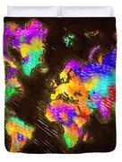 World Map Color Duvet Cover