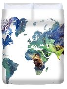 World Map Cosmos Duvet Cover