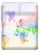 World Map Crumpled Multi-coloured Duvet Cover