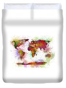 World Map Digital Watercolor Painting Duvet Cover