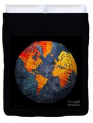 World Map - Elegance Of The Sun Baseball Square Duvet Cover by Andee Design