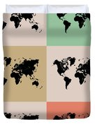 World Map Grid Poster 2 Duvet Cover