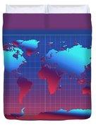 World Map In Blue Duvet Cover