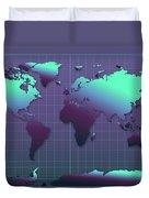 World Map In Dark Green Duvet Cover