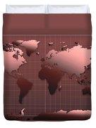 World Map In Dark Red Duvet Cover