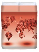 World Map In Geometic Red Duvet Cover