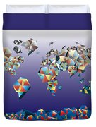 World Map In Geometric Fractal 2 Duvet Cover