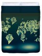 World Map In Geometric Green Duvet Cover