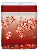 World Map In Geometric Red Duvet Cover