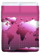 World Map In Pink Duvet Cover