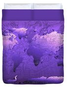 World Map In Purple Duvet Cover