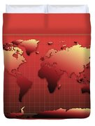World Map In Red Duvet Cover