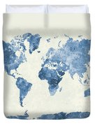 World Map In Watercolor Blue Duvet Cover