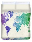 World Map In Watercolor Multicolored Duvet Cover