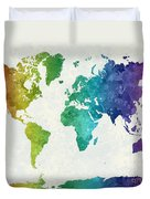 World Map In Watercolor Rainbow Duvet Cover